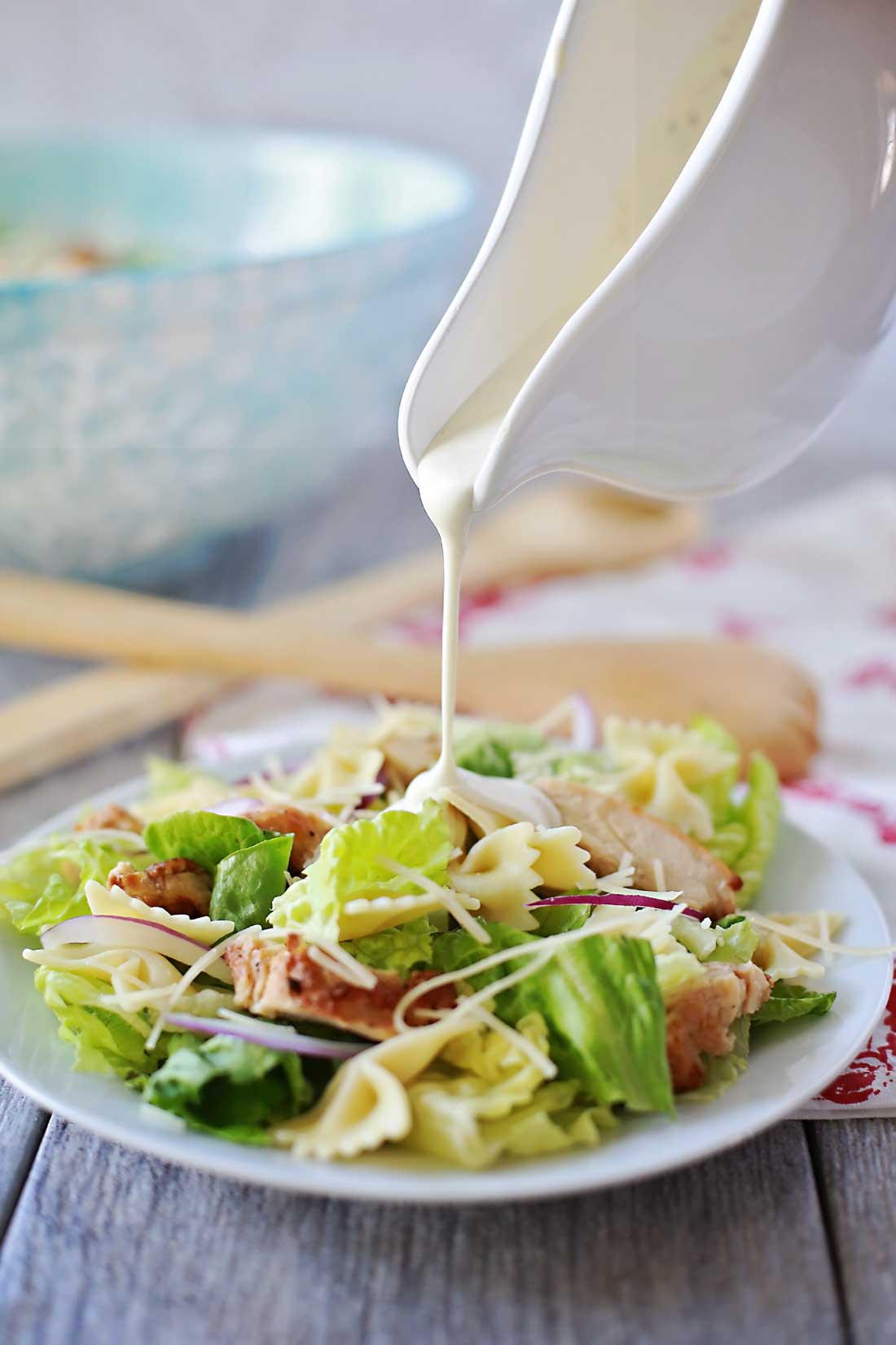 BEST SALAD EVER!!! Grilled Chicken Caesar Salad with bow tie noodles by Flirting with Flavor!