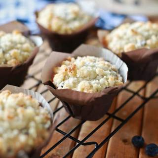 Streusel topped Blueberry Cream Cheese Muffins recipe by Flirting with Flavor. So SO SO GOOD!!!