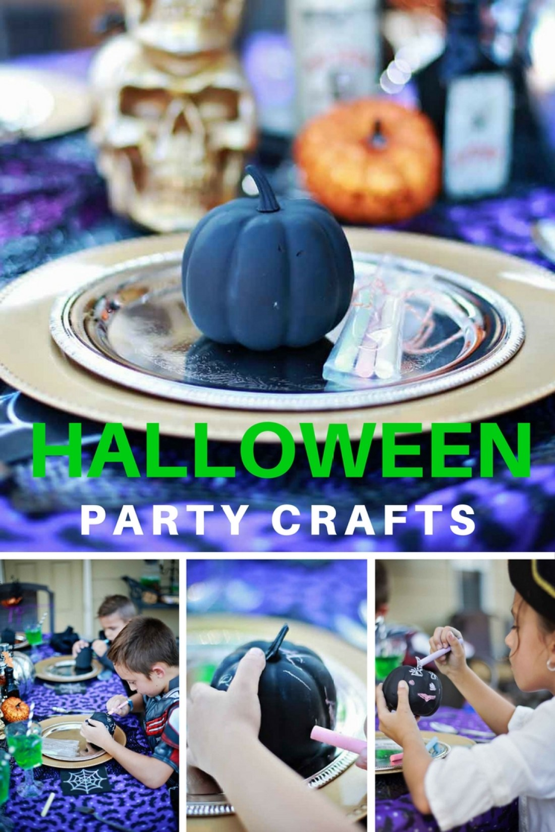 Halloween Party crafts including Chalk Paint Jack-o-lanterns, or CHalk-O-lanterns!