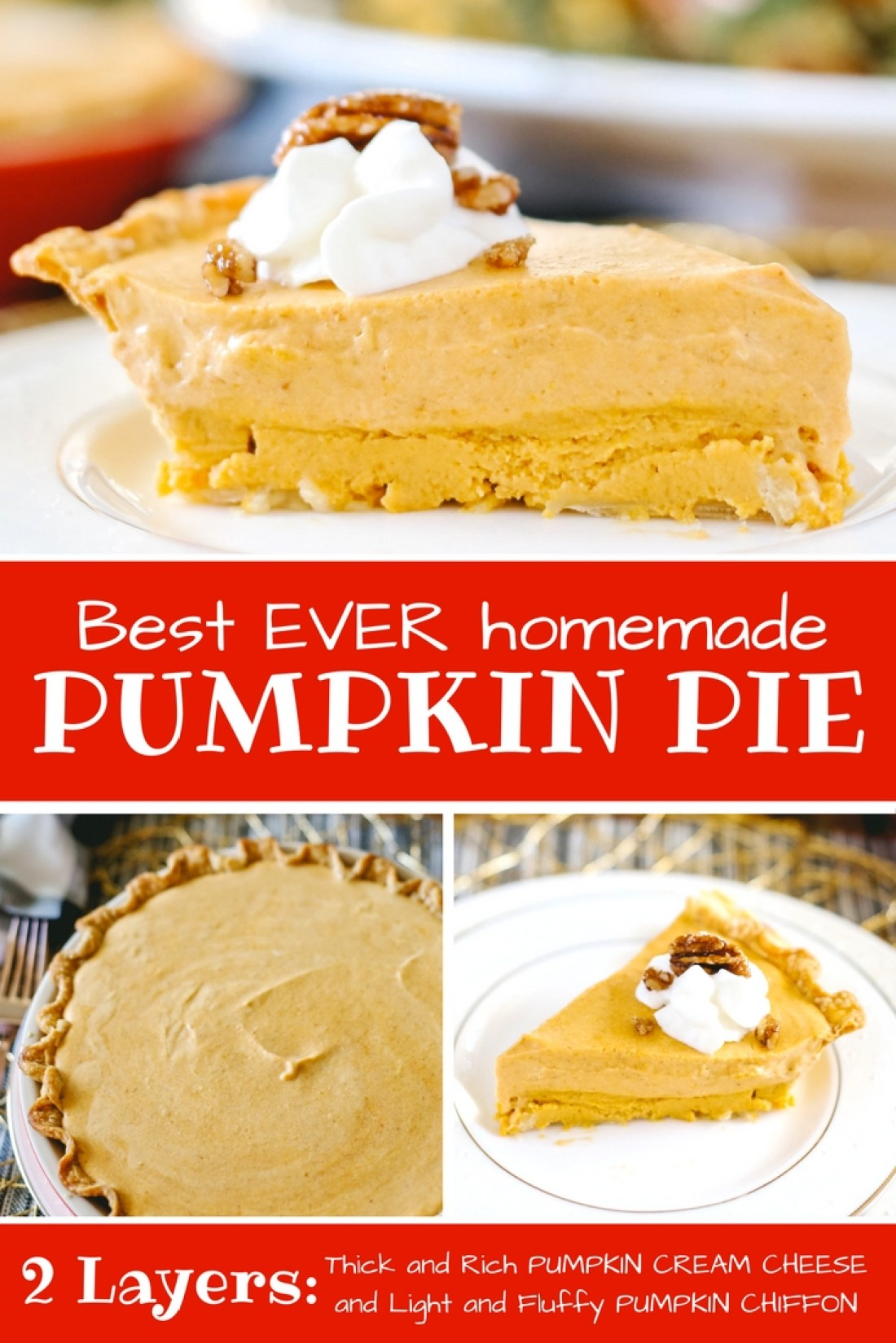 Most incredible Pumpkin Chiffon Pie recipe ever! With a rich cream cheese layer and a fluffy chiffon layer... YUMMMM!