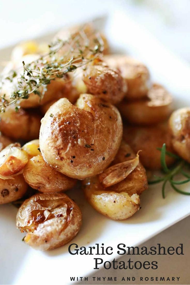 Roasted baby potatoes with garlic and herbs! SOOO GOOD!