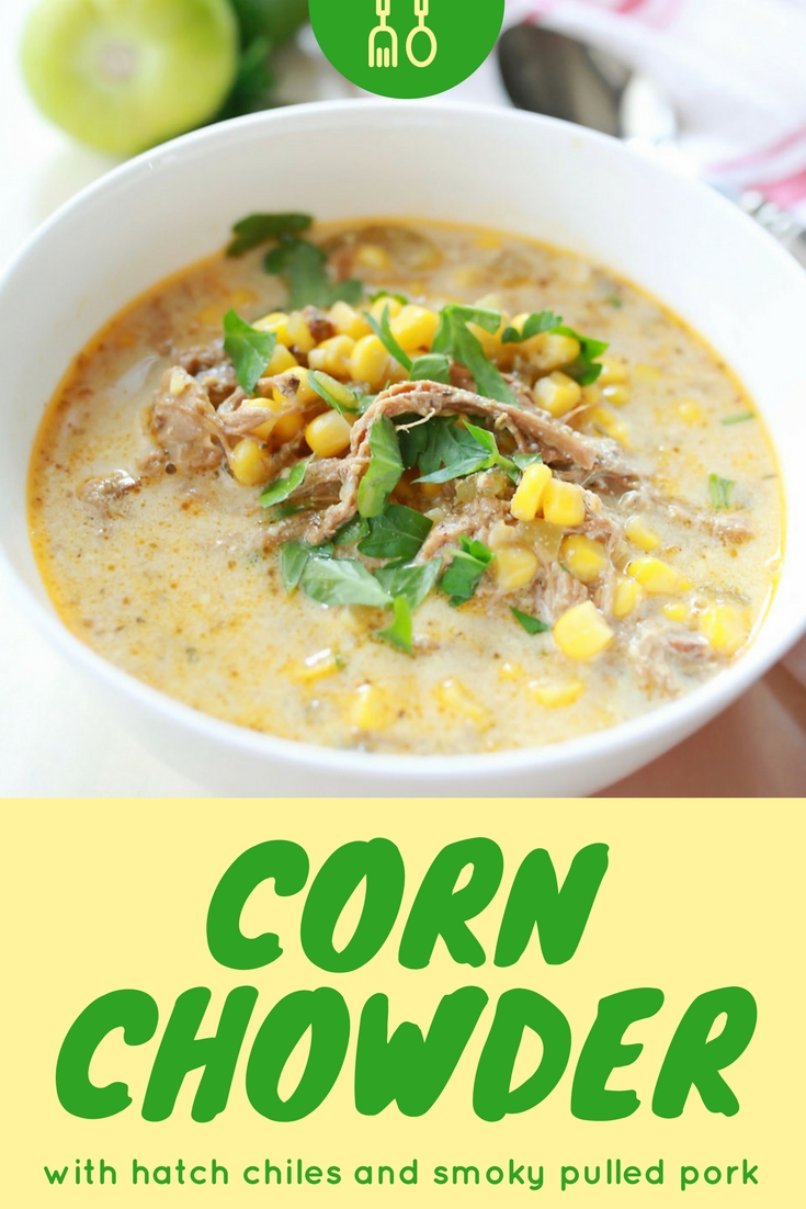 Hatch chiles Corn Chowder that is creamy and delicious with smoky pulled pork!!! You guys this was sooo good! (but totally looked like puke. But seriously, SO YUMMY!)