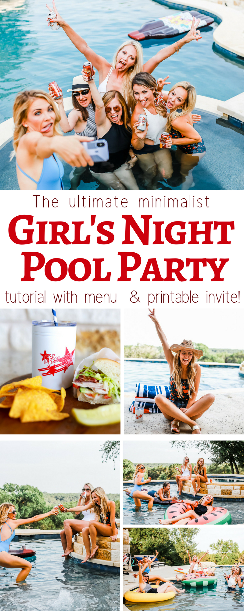 Everything you need to know too throw an awesome girls night or pool party last minute or even pre planned. with menu and printable or digital invites free!