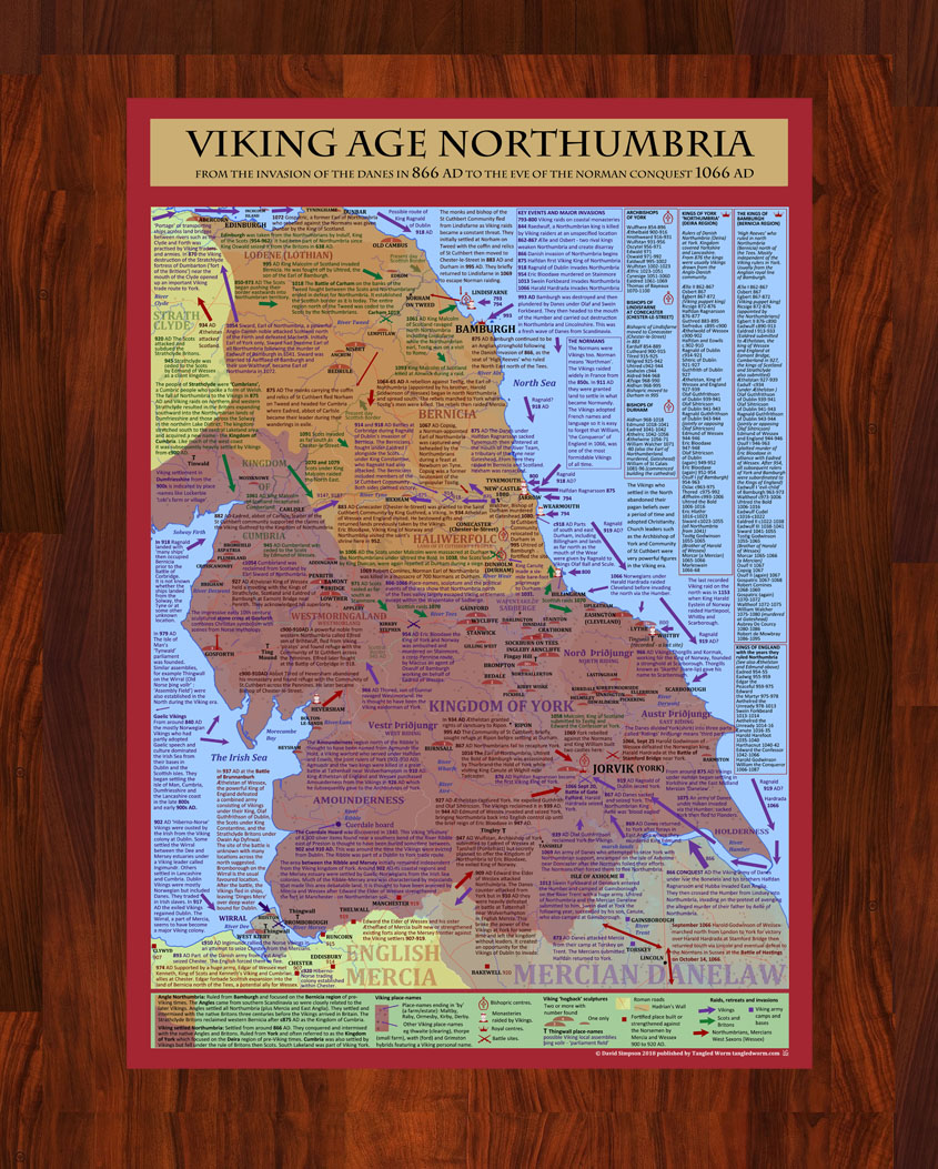 Viking Age Northumbria 866 to 1066AD  Poster Print (A2 only)