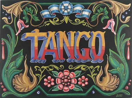 tango muenchen- fileteado porteno gemälde mit schwarzem hintergrund
