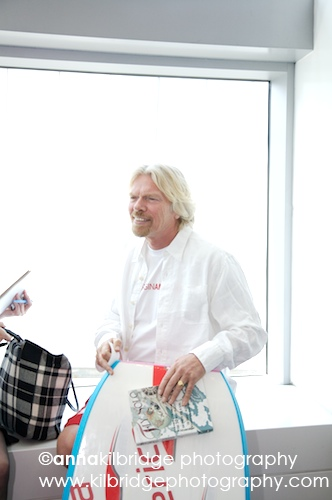 Richard Branson with a copy of FLY SOLO