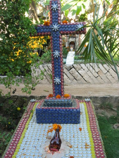Xcaret Gravestone made entirely from beer caps