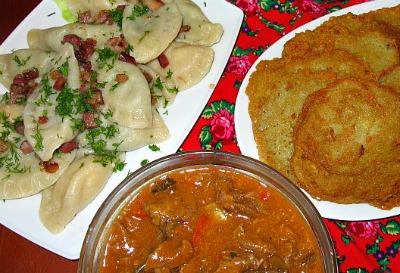 Pierogi, potato pancakes and goulash