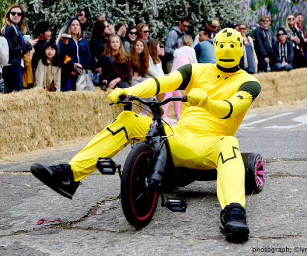 BYOBW, bring your own big wheel, event, san francisco, potrero hill, 94107, race , yellow robot costume,