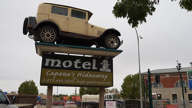Retro, vintage, sign, car, al capone, Moose Jaw, Saskatchewan, Canada