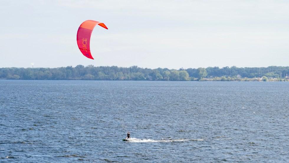 lake michigan, kite surfer