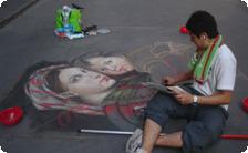 Street artist in Florence