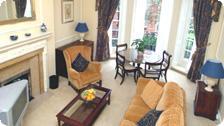 A livingroom with fireplace