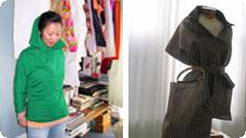(left) hoodie; (right) rain shawl