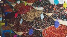 Dried chilis in the market.