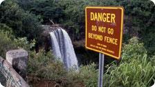 Dangerous waterfalls in Kauai