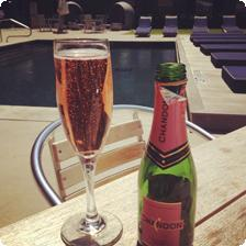 Drinking Chandon poolside