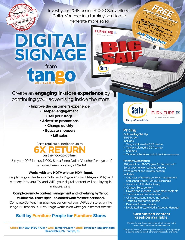 Serta and Furniture 1st Digital Signage Voucher Program - Market Special