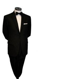 Single button black tie suit