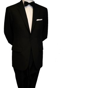 Single button black tie suit