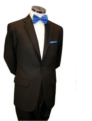 Single button black tie suit with any Bow €70
