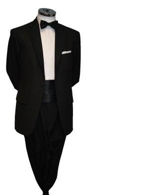 Single button black tie suit with Cummerbund €80