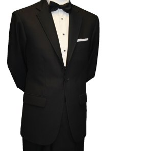 Single button black tie suit with Marcella shirt €85