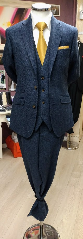 Blue suits Tweed Herringbone