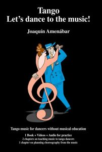 Cover image for the book TANGO! - LET'S DANCE TO THE MUSIC. Shows a cartoon man dressed in a blue suit dancing with a pink treble clef woman.