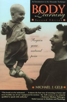 The BODY LEARNING book cover that shows a man holding a toddler standing upright in the right hand of the man.
