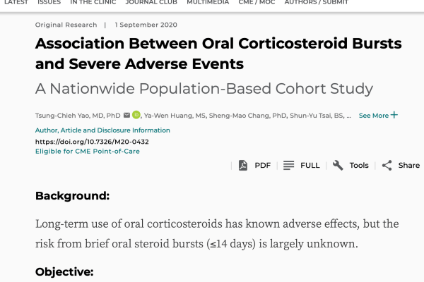 Severe Adverse Events Are Associated with Short Courses of Oral Corticosteroids? 皮质激素长期服用有害,短期如何?