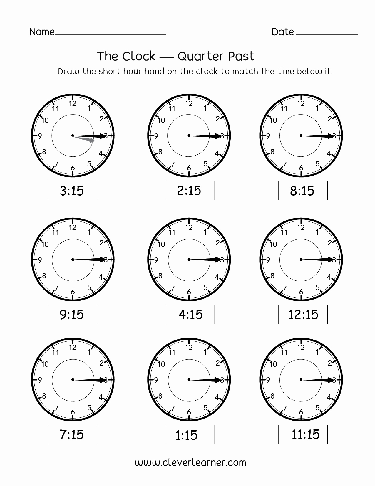 Telling The Time Sheets For Telling Time Quarter Past The