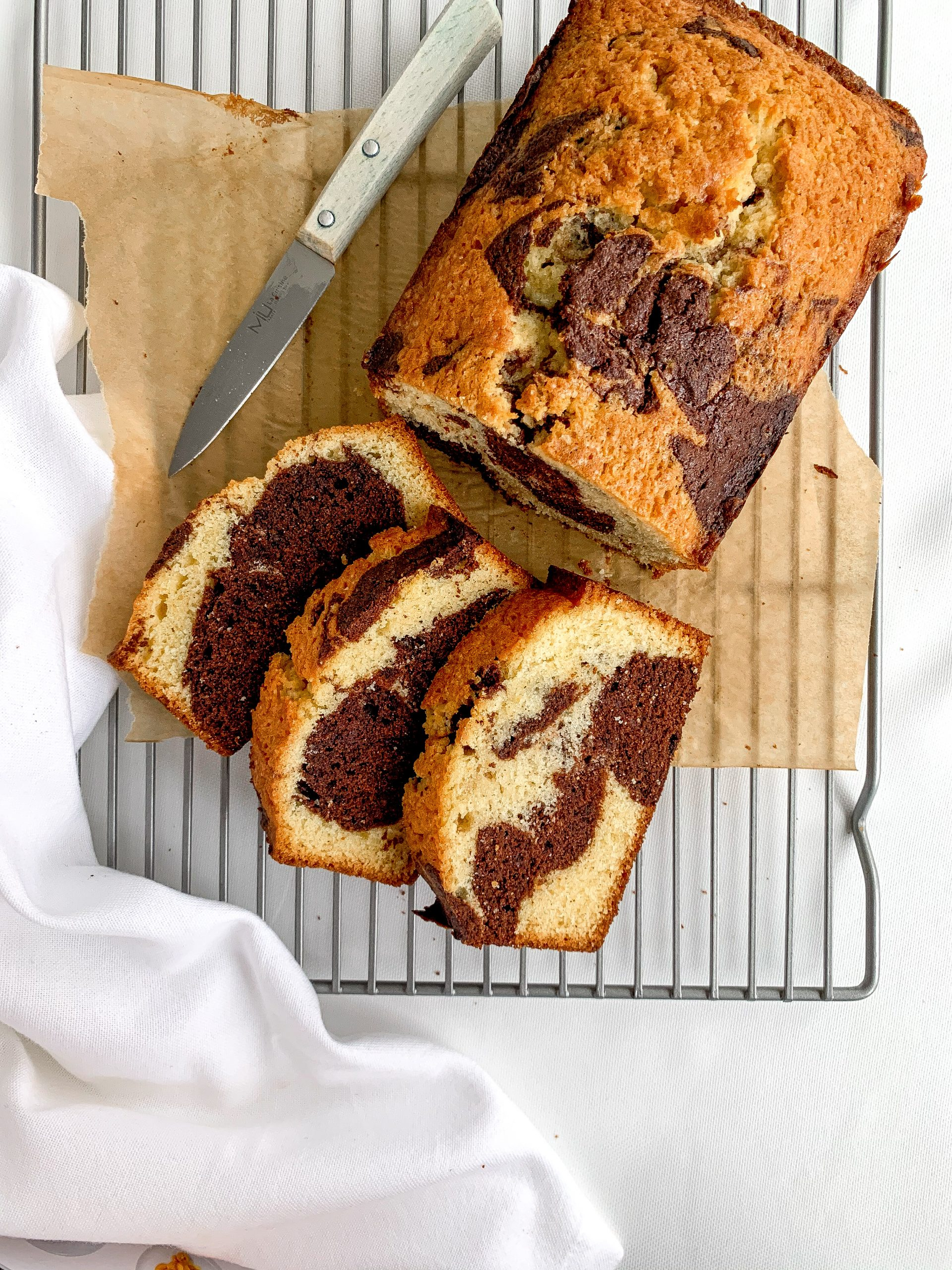 Marble Chocolate cake sliced on a wire rack