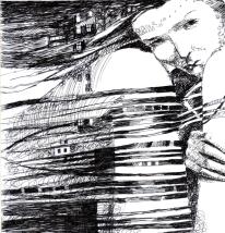 """Grafik """"Einsamkeit"""", Gelschreiber, Paper"""
