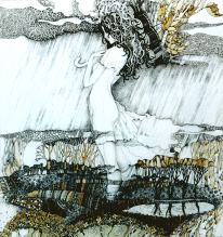 """Grafik """"Herbst"""", 50X50, Aquarell, Gelschreiber, Papier"""