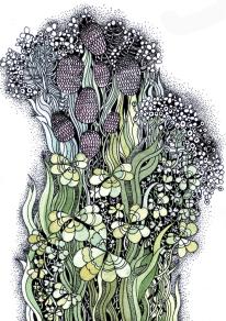 """""""Kleeblüten"""", Aquarell, Gelschreiber, Papier"""