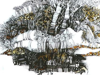 """Grafik """"Frühling"""", 50X70, Aquarell, Gelschreiber, Papier"""
