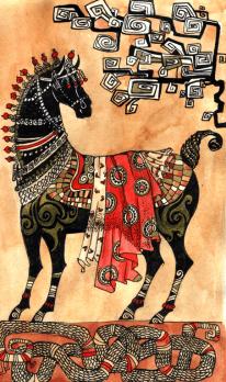 """Japanische Pferd"", Aquarell, Gelschreiber, Papier"