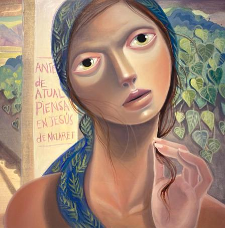 Piénsatelo Bien Yudelkys, oil on wood, 24 x 24 inches, 2020