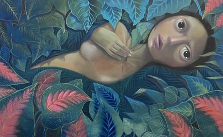 Suburban Tragic, oil on canvas, 49 x 78 inches, 2018