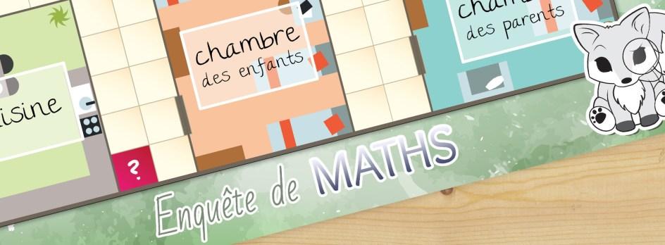Un morceau du plateau du jeu Enquête de Maths.