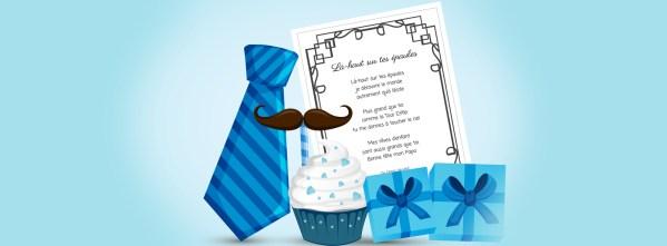 Poésies pour la fête des pères, un cadeau, un cupcake et quelques éléments de décor.