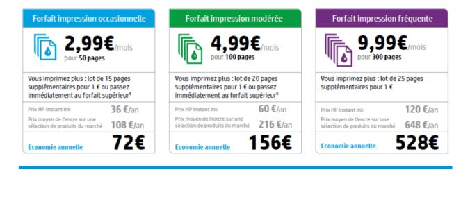 HP instant ink - tarifs des abonnements