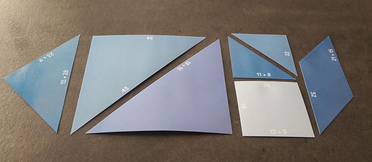 Pièces du tangram des additions