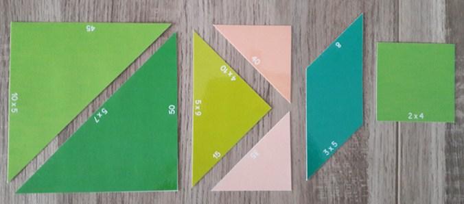 Tangram des multiplications - pièces
