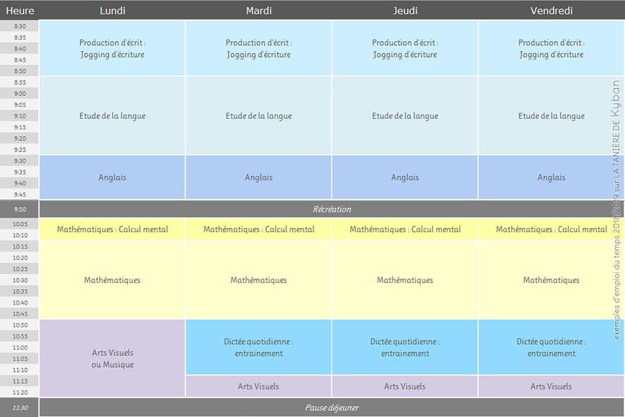 Emploi du temps 2018/2019 - CE1 et CE2 - matin