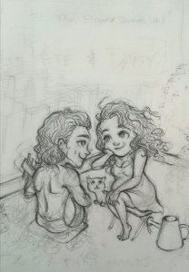 A working drawing for the Pete & Daisy cover.