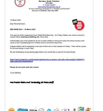 Red Nose Day Letter…