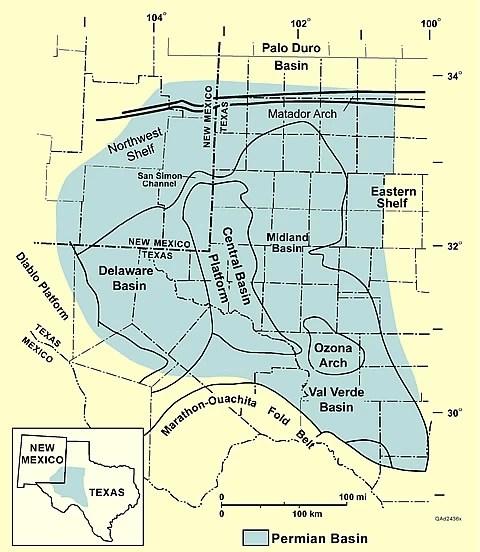 West Texas Permian Basin, West Texas, Permian Basin Map, Texas