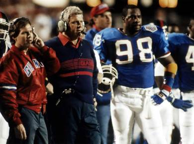 Bill Belichick on the Sideline with Bill Parcels during Super Bowl XXV